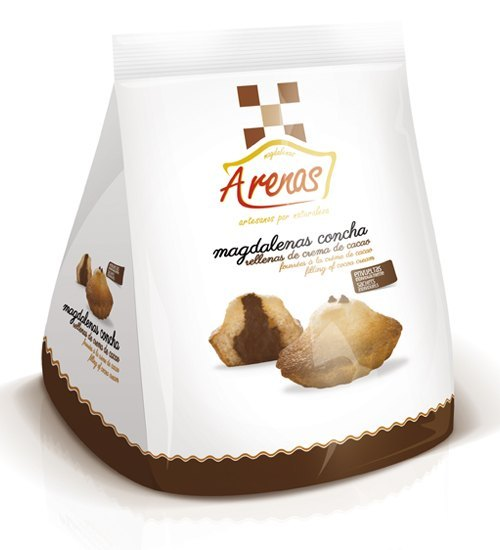Magdalenas Concha rellenas crema de cacao 10 unidades